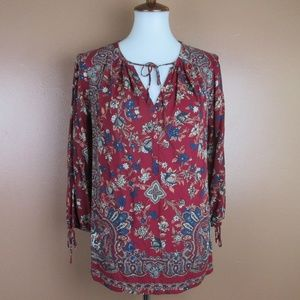 Small Lucky Brand 3/4 Sleeve Floral Paisley Top